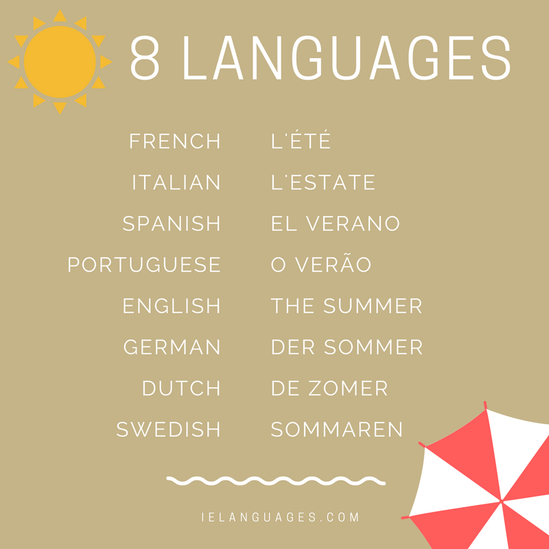Summer in 8 languages