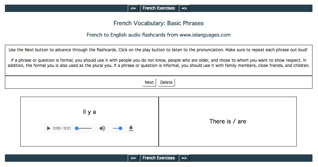 Screenshot of French Vocabulary: Basic Phrases audio flashcards
