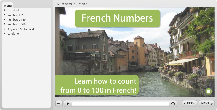 Screenshot of French Numbers course made with Articulate Storyline 2