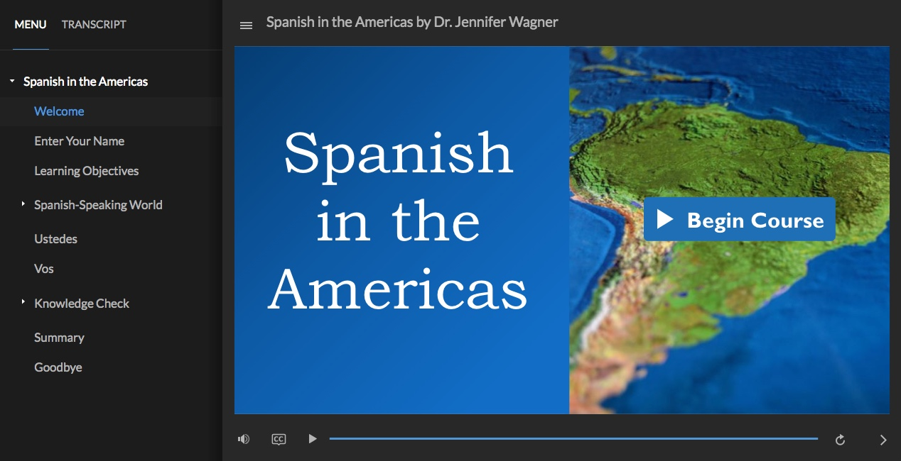 Screenshot of Spanish in the Americas course made with Articulate Storyline 360