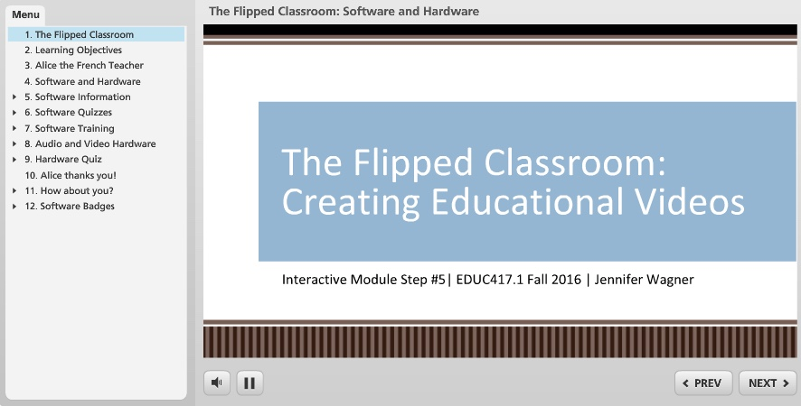 Screenshot of Flipped Classroom prototype made with Articulate Studio